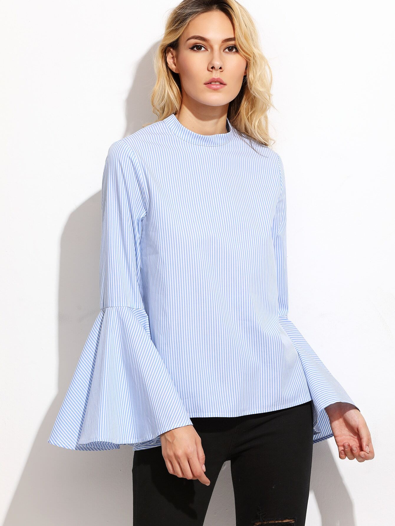 Blue vertical striped keyhole back bell sleeve blouse for Bell bottom sleeve shirt