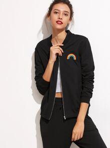 Black Rainbow Embroidered Pockets Jacket