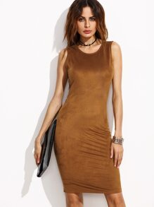Camel Faux Suede Open Back Tank Dress