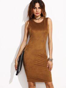 Camel Faux Suede Open Back Tank Dress