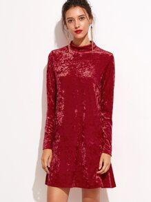 Red Mock Neck Keyhole Velvet Dress