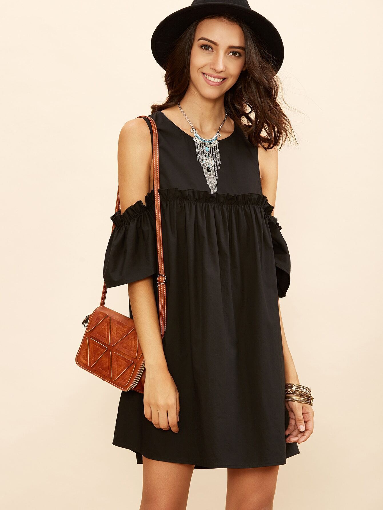 Black Cold Shoulder Frill Babydoll Dress EmmaCloth-Women Fast ...