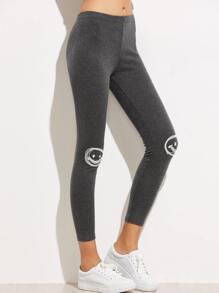 Dark Grey Applique Trim Leggings
