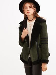Olive Green Faux Suede Shearling Jacket