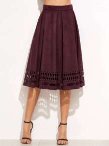 Burgundy Faux Suede Laser Cutout Midi Skirt