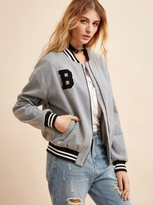 Grey Striped Trim Flocked Patch Zipper Jacket