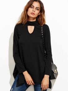 Black Cut Out Asymmetrical Swing T-shirt