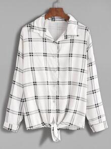 White Plaid Tie Front Drop Shoulder Seam Blouse