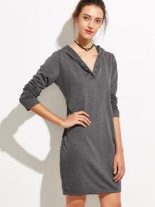 Dark Grey Hooded Metal Eyelet Dress
