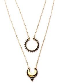 Antique Gold Double Layer Moon Design Pendant Necklace