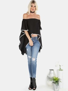 Contrast Lined Bardot Waterfall Top BLACK