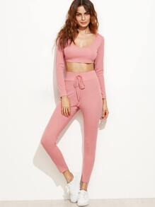 Pink Crop Hooded Top With Drawstring Waist Pants