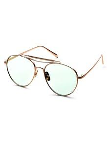Metal Frame Double Bridge Green Lens Aviator Sunglasses