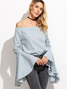 Blue Gingham Oversized Bell Sleeve Off The Shoulder Top
