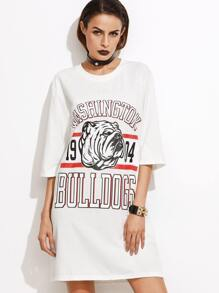 White Varsity Print Slit Side Tee Dress