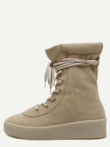 Apricot Faux Suede Rubber Soled Martin Boots