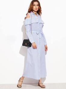 Blue Vertical Striped Open Shoulder Ruffle Shirt Dress