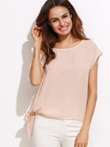 Apricot Tie Side Round Neck Short Sleeve Blouse
