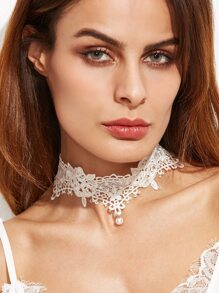 White Faux Pearl Floral Lace Choker Necklace