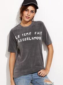 Grey Crew Neck Letter Print Velvet T-shirt