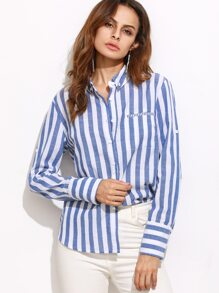 Blue Vertical Striped Roll Sleeve Blouse