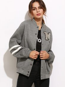 Heather Grey Varsity Striped Sleeve Baseball Jacket With Letter Patch