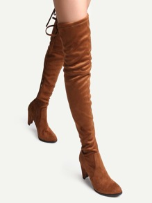 Camel Faux Suede Tie Back Over The Knee Boots