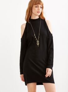 Black Mock Neck Open Shoulder Dress