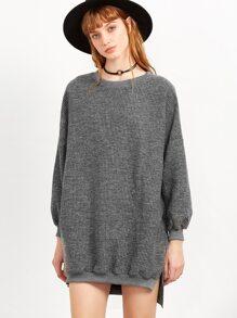 Grey Split Side High Low Sweatshirt Dress