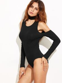 Black Ribbed Cold Shoulder Bodysuit With Choker