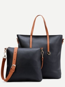 Black Faux Leather Tote Bag Set With Convertible Strap