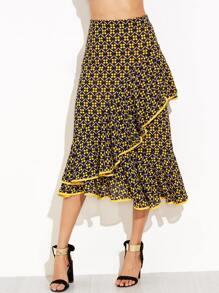 Florals Ruffle Asymmetrical A-Line Skirt