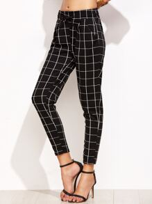 Black Grid Print Drawstring Pants