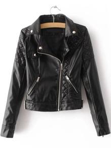 Black Textured Detail PU Jacket With Zipper