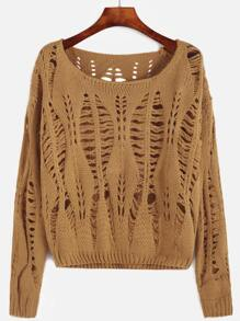 Yellow Drop Shoulder Open Knit Sweater
