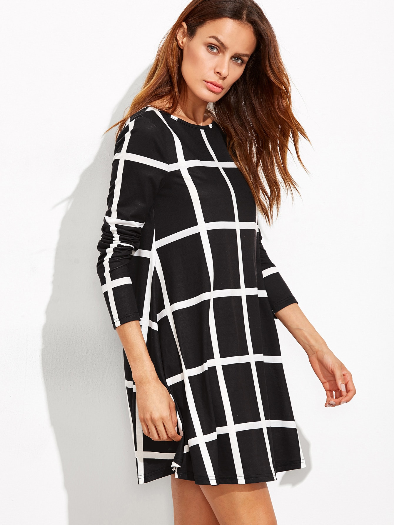 sc 1 st  EmmaCloth & Black Grid Long Sleeve Swing Dress EmmaCloth-Women Fast Fashion Online