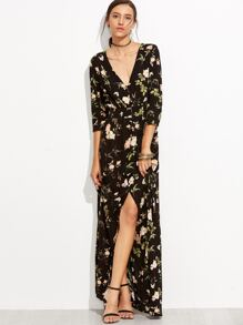 Black V Neck Florals Wrap Maxi Dress
