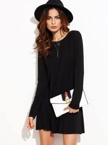 Black Long Sleeve Swing Dress