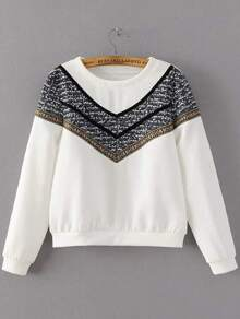 White Crew Neck Chevron Print Sweatshirt