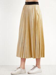 Golden Contrast Waist Pleated Skirt
