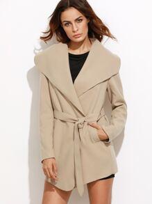 Camel Oversized Drape Collar Wrap Coat