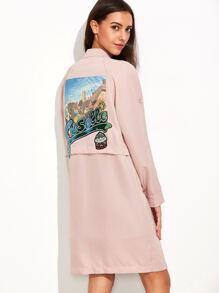 Pink Roll Tab Sleeve Utility Coat With Sequin Detail