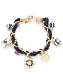 Navy Braided Multi Pendant Charm Bracelet
