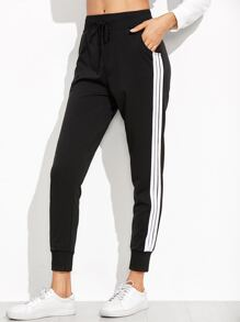 Black Striped Side Sweat Pants