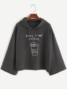 Dark Grey Coffee Cup Print Hooded Sweatshirt