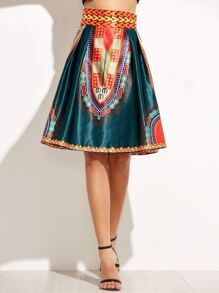 Vintage Print High Waist A-Line Skirt