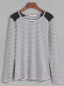 Contrast Mesh Striped T-shirt