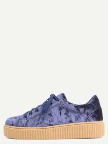 Faux Suede Platform Sneakers NAVY