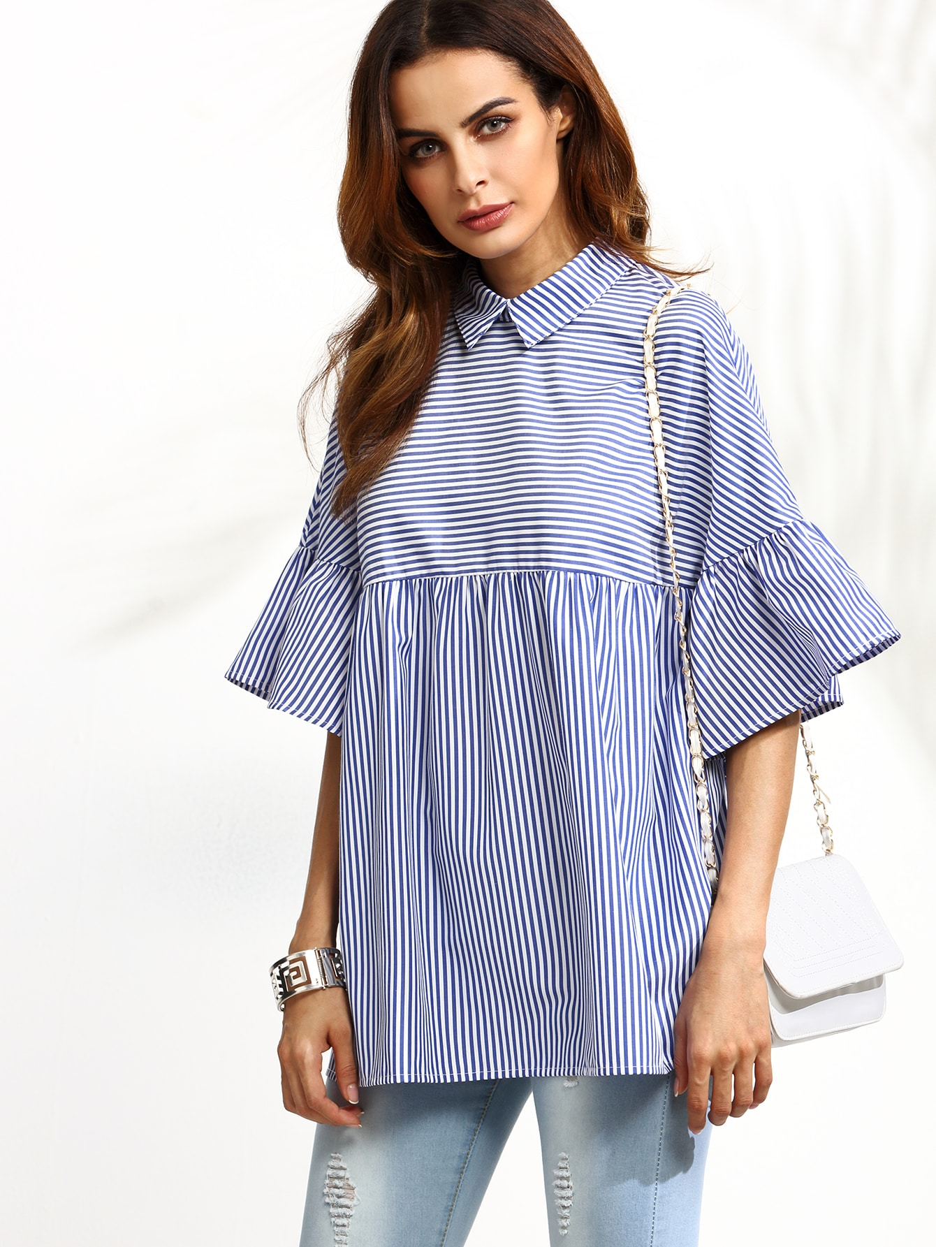 Blue Striped Ruffle Sleeve Babydoll Blouse pictures - Blue Striped Ruffle Sleeve Babydoll Blouse EmmaCloth-Women Fast