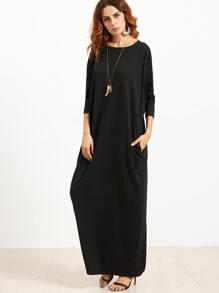Black Scoop Neck Shift Maxi Dress